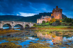Eilean Donan Caste. The world famous Eilean Donan Caste during a stormy evening Stock Image