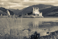 Eilean Donan Castle Black and White. Eilean Donan Castle in Scottish Highlands Black and White Art Royalty Free Stock Images