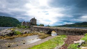 Eilean Donan Castle in cloudy day. Dornie, Kyle of Lochalsh, Scotland Royalty Free Stock Photography