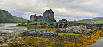 Eilean Donan castle on a cloudy day,Highlands, Scotland, UK Royalty Free Stock Images