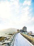 Eilean Donan Castle in de winter royalty-vrije stock afbeelding