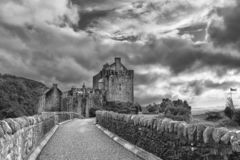Eilean Donan Castle at Dornie on Kyle of Lochalsh in Scotland wi royalty free stock image