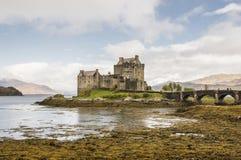 Eilean Donan Castle on a heavy rain. Eilean Donan Castle, Highlands, Scotland Stock Photo