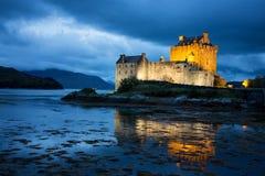 Eilean Donan Castle. The illuminated Eilean Donan Castle during blue hour. Loch Duich, Scottish Highlands Royalty Free Stock Image
