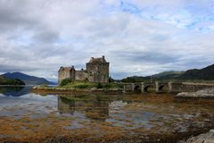 Eilean Donan castle on an island at the entrance of Loch Duich in Scotland stock photos