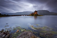 Eilean Donan Castle IX. Castle by night, Isle of Skye, Scotland, UK royalty free stock image
