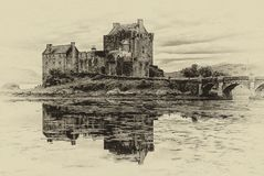 Eilean Donan Castle photo in the style of b&w graphic list vector illustration