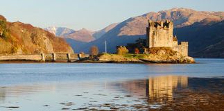 Eilean Donan Castle, Scotland. Scotland's most photographed castle in late afternoon Royalty Free Stock Images