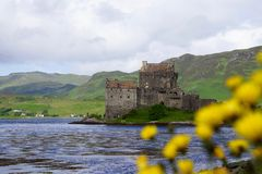 Eilean Donan Castle, Scotland. Eilean Donan Castle in Scotland with yellow flowers Royalty Free Stock Photography