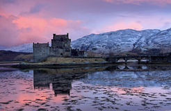 Eilean Donan Castle at sunrise Royalty Free Stock Photos