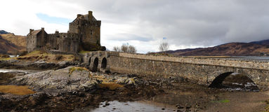 Eilean Donan Castle. With a view at the scenic landscape at the beginning of march stock photo