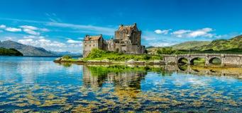 Eilean Donan Castle during a warm summer day - Dornie, Scotland stock image