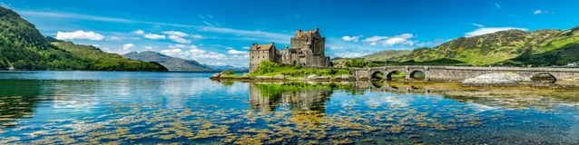 Eilean Donan Castle during a warm summer day - Dornie, Scotland. United Kingdom Royalty Free Stock Photo
