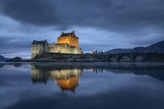 Eilean donan Schloss in Schottland stockfotografie