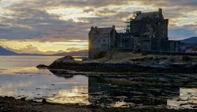 Eileen Donan Castle at sunset. No people around anymore royalty free stock photography