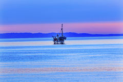 Eilwood Offshore Oil Well Pacific Ocean Sunset California Stock Image