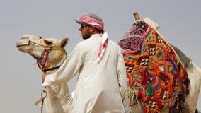 Ein ägyptischer Mann u. ein Kamel Der Himmel im Hintergrund Das outsk stockfotos