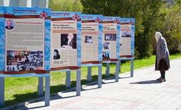 Ein älterer Frauenlesetext und aufpassenden Bilder auf dem Stand Lizenzfreie Stockbilder