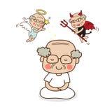 Ein älterer Mann, der mit Engel und Teufel meditiert Lizenzfreie Stockfotos