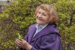 Ein älteres Frauenmodell im Garten Stockfotografie
