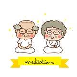 Ein älteres meditierendes Paar Stockbild