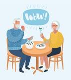 Ein älteres Paar sitzen im Café lizenzfreie abbildung