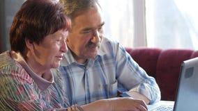 Ein älteres Paar sitzt zu Hause am Laptop Eine Frau liest Nachrichten, sitzt ein Mann mit einem Schnurrbart nahe bei ihm und spri stock footage