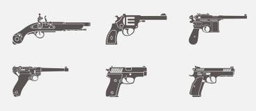 Ein übergebene Pistolen silhouettieren Vektorikonensatz vektor abbildung
