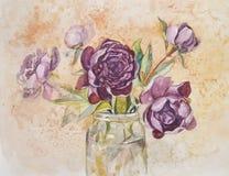 Ein üppiger Blumenstrauß mit herrlicher schöner Pfingstrose blüht Stockbilder