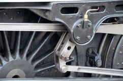 Abschluss oben der Räder auf einem Dampfzug Stockfotografie