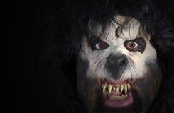 Ein Abschluss oben des Gesichtes eines Werewolf Lizenzfreies Stockfoto