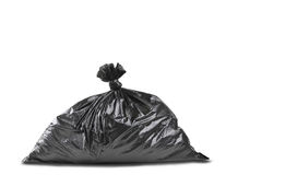Ein Abschluss oben einer schwarzen Abfallabfalltasche stockfotografie