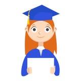 Ein Absolvent mit einem Diplom lizenzfreie abbildung