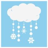 Ein abstrakter Illustrationshintergrund des Weißbuches bewölkt sich mit snowfla Stockbild