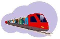 Ein abstrakter Zug, der die Kleidung transportiert, die an den Aufhängern hängt Vektor Abbildung
