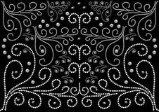 Ein abstraktes Muster auf dem schwarzen Hintergrund in Form von weißen Perlen Lizenzfreie Stockfotos