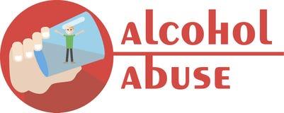 Ein Alkoholiker ertrinkt in einem Glas Wodka Hand gezeichnete Abbildung Stockbild