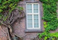 Ein alter Backsteinbau mit einem Fenster in einem weißen Rahmen Stockfoto