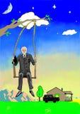 Ein alter Geschäftsmann schwingt auf Schwingen nahe seinem Haus zur Abendzeit Vektor Abbildung