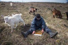Ein alter Mann in der unordentlichen Kleidung sitzt auf einem H?gel, der das Schach spielt und l?sst eine Menge seiner eigenen Zi stockfoto