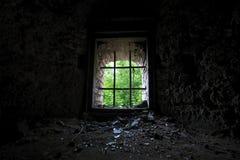 Ein altes Fenster mit den Stangen, welche die Natur gegenüberstellen Stockfotografie