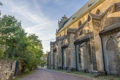 Ein altes katholisches Kloster, das jetzt das Landesschule Pforta, Internatsgymnasium unterbringt Touristenort Sachsen-Anhalt, De lizenzfreies stockbild