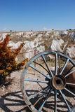 Ein altes Rad. Uchisar Tal. Die Türkei Stockfotografie