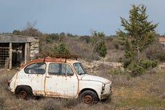 Ein altes rostiges Autowrack, das in einem Garten steht Stockfoto