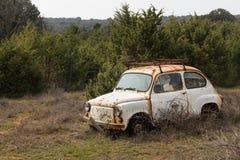 Ein altes rostiges Autowrack, das in einem Garten steht Lizenzfreie Stockfotos