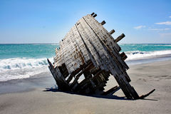 Ein altes Schiffs-Wrack #3: Masirah-Insel, Oman lizenzfreies stockbild