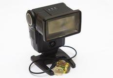 Ein altes staubiges nationales photographisches Blitzgerät von der Filmära, die für dauerhaften Gebrauch als Fernblitzgerätesprit Lizenzfreie Stockfotografie