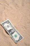 Ein amerikanischer Dollarschein auf dem Sand Stockfoto