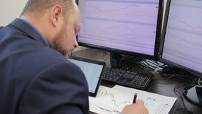 Ein Analytiker in der Klage baut den Zeitplan auf, der zwei große Monitoren betrachtet stock video footage