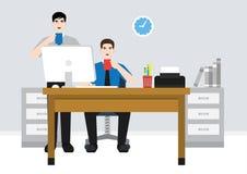 Ein Angestellter auf Arbeitsstundeillustration lizenzfreie abbildung